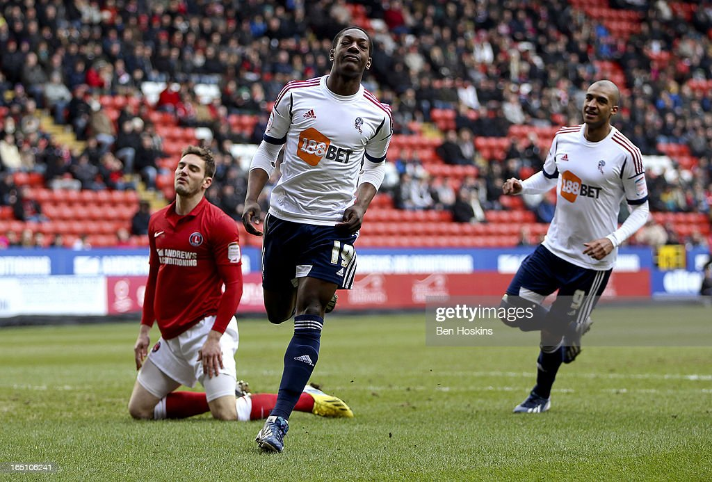 Marvin Sordell of Bolton celebrates after scoring the opening goal of the game during the npower Championship match between Charlton Athletic and Bolton Wanderers at the Valley on March 30, 2013 in London, England.