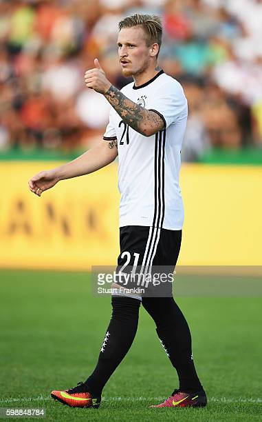 Marvin Stefaniak of Germany in action during the Under21 friendly match between U21 Germany and U21 Slovakia at Auestadion on September 2 2016 in...