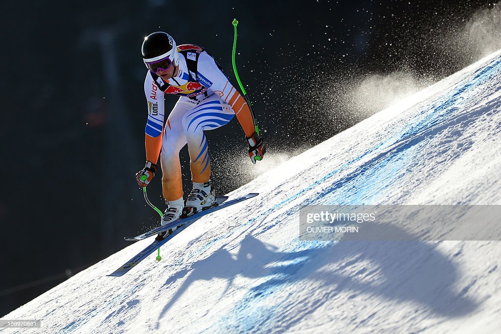 Marvin Van Heek from The Netherlands competes during the men's World Cup Downhill training on January 24, 2013 in Kitzbuehel. AFP PHOTO / OLIVIER MORIN