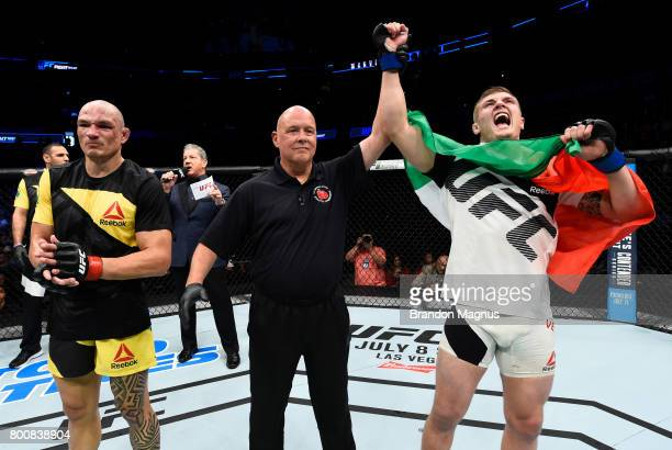 Marvin Vettori of Italy celebrates after his victory over Vitor Miranda of Brazil in their middleweight bout during the UFC Fight Night event at the...