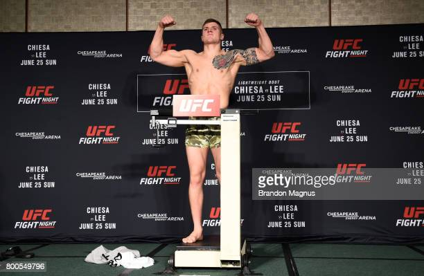 Marvin Vettori of Italy poses on the scale during the UFC Fight Night weighin on June 24 2017 in Oklahoma City Oklahoma