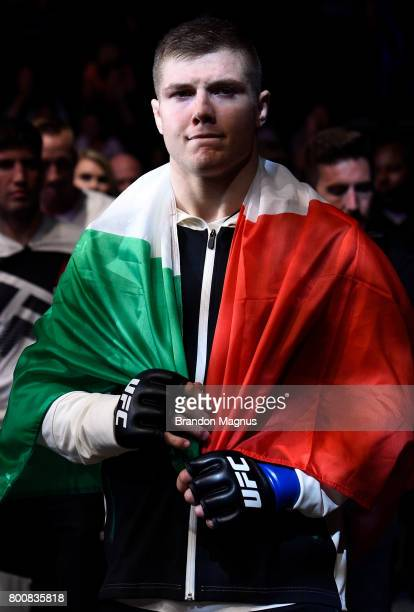Marvin Vettori of Italy prepares to enter the Octagon prior to his middleweight bout against Vitor Miranda of Brazil during the UFC Fight Night event...
