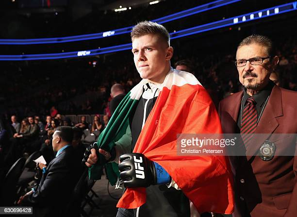 Marvin Vettori of Italy walks to the Octagon to face Antonio Carlos Junior of Brazil in their middleweight bout during the UFC 207 event on December...