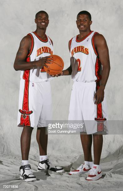 Marvin Williams and Joe Johnson of the Atlanta Hawks pose during media day at Philips Arena on October 2 2006 in Atlanta Georgia NOTE TO USER User...