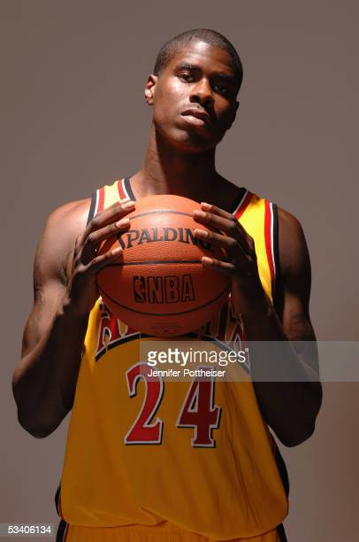 Marvin Williams of the Atlanta Hawks poses during a portrait session with the 2005 NBA rookie class on August 10 2005 in Tarrytown New York NOTE TO...