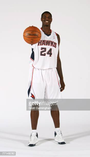 Marvin Williams of the Atlanta Hawks poses during NBA Media Day at Philips Arena October 1 2007 in Atlanta Georgia NOTE TO USER User expressly...