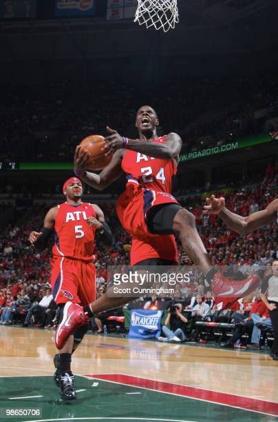 Marvin Williams of the Atlanta Hawks puts up a shot against the Milwaukee Bucks in Game Three of the Eastern Conference Quarterfinals during the 2010...
