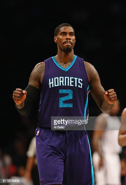 Marvin Williams of the Charlotte Hornets celebrates a point against the Brooklyn Nets during their game at the Barclays Center on February 21 2016 in...