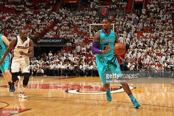 Marvin Williams of the Charlotte Hornets drives against the Miami Heat during Game Two of the Eastern Conference Quarterfinals during the 2016 NBA...