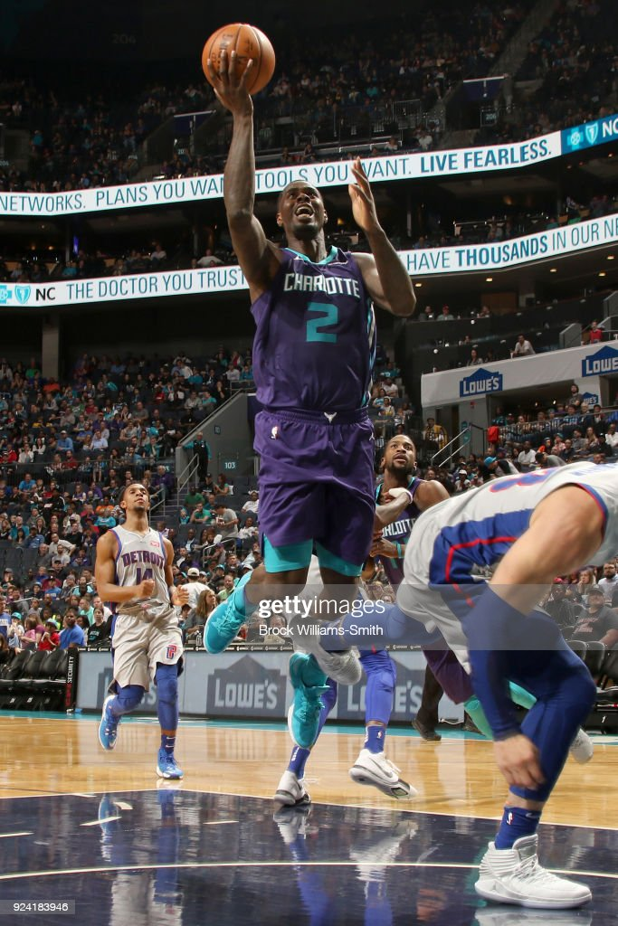 Marvin Williams #2 of the Charlotte Hornets goes to the basket against the Detroit Pistons on February 25, 2018 at Spectrum Center in Charlotte, North Carolina.