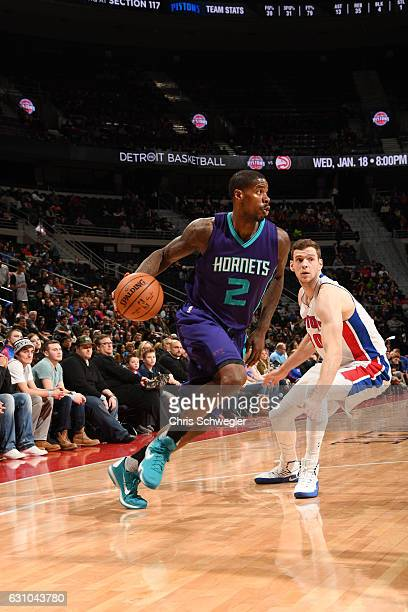 Marvin Williams of the Charlotte Hornets handles the ball during a game against the Detroit Pistons on January 5 2017 at The Palace of Auburn Hills...
