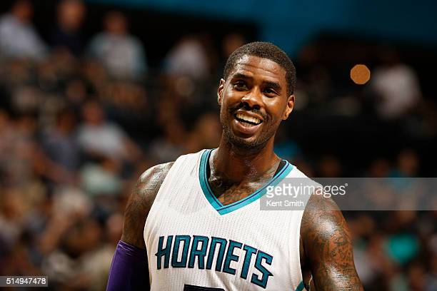 Marvin Williams of the Charlotte Hornets is seen during the game against the Detroit Pistons at the Time Warner Cable Arena on March 11 2016 in...