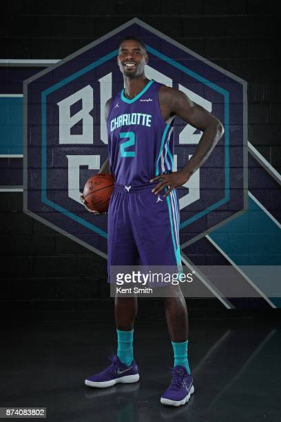 Marvin Williams of the Charlotte Hornets poses for a portrait to help announce the partnership with Lending Tree at the Spectrum Center in Charlotte...