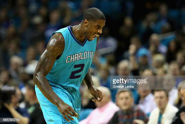 Marvin Williams of the Charlotte Hornets reacts after a basket against the Atlanta Hawks during their game at Time Warner Cable Arena on November 1...
