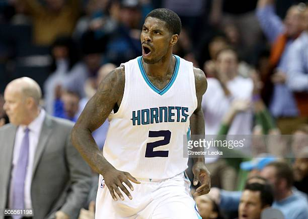 Marvin Williams of the Charlotte Hornets reacts after a play during their game against the Utah Jazz at Time Warner Cable Arena on January 18 2016 in...