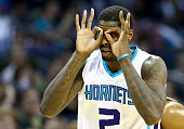 Marvin Williams of the Charlotte Hornets reacts after making a basket against the Utah Jazz during their game at Time Warner Cable Arena on December...