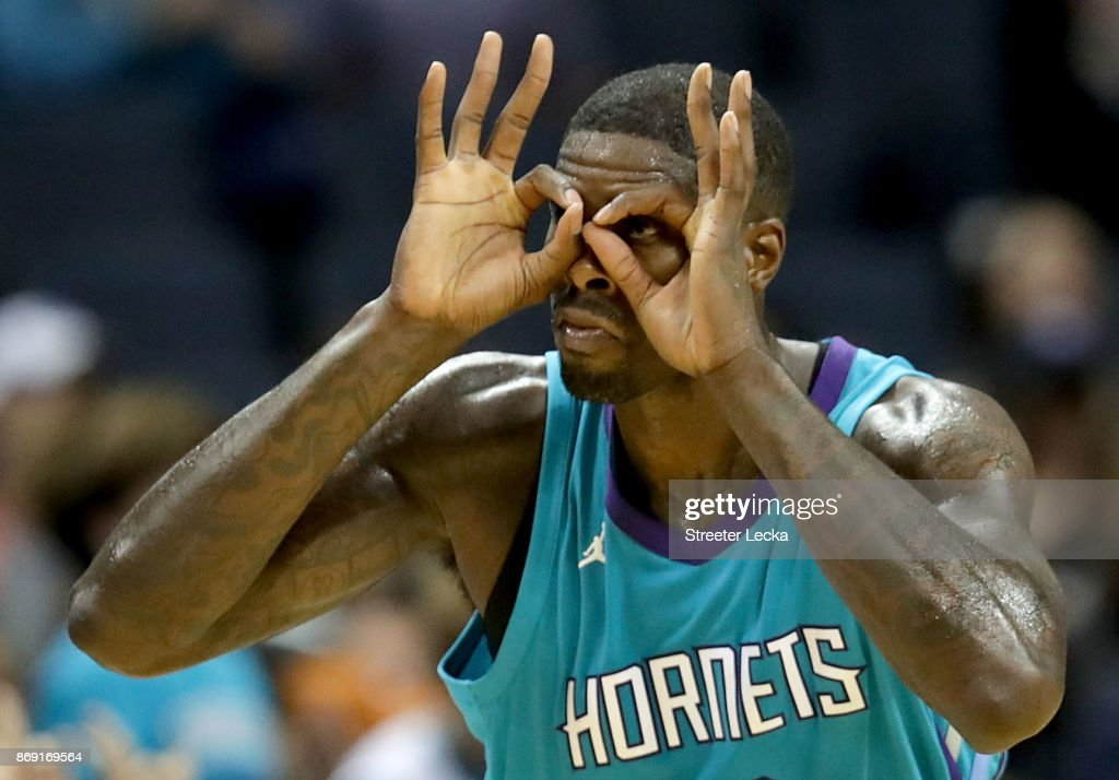 Marvin Williams #2 of the Charlotte Hornets reacts after making a basket against the Milwaukee Bucks during their game at Spectrum Center on November 1, 2017 in Charlotte, North Carolina.