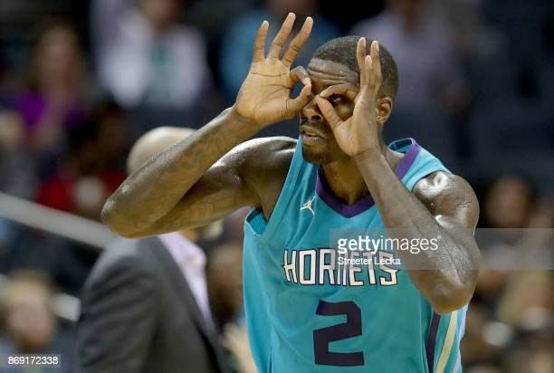 Marvin Williams of the Charlotte Hornets reacts after making a basket against the Milwaukee Bucks during their game at Spectrum Center on November 1...