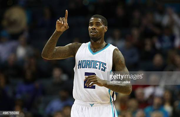 Marvin Williams of the Charlotte Hornets reacts during their game against the Washington Wizards at Time Warner Cable Arena on November 25 2015 in...
