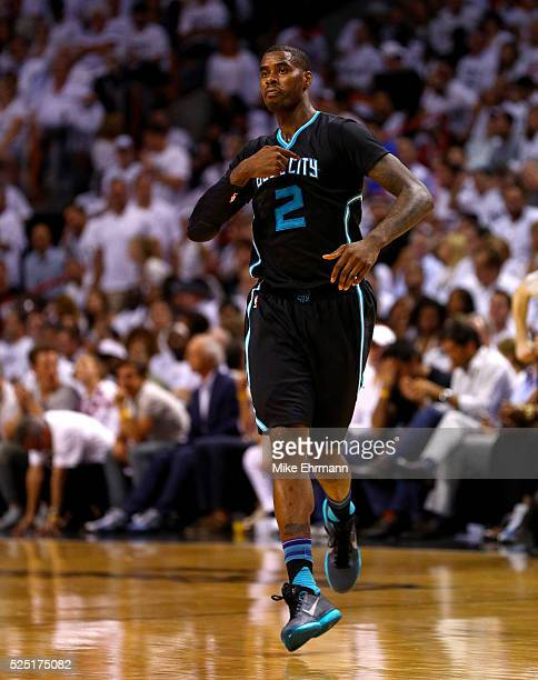 Marvin Williams of the Charlotte Hornets reacts to a three pointer during Game 5 of the Eastern Conference Quarterfinals of the 2016 NBA Playoffs...