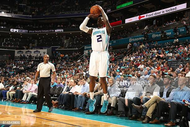 Marvin Williams of the Charlotte Hornets shoots against the New Orleans Pelicans on March 9 2016 at Time Warner Cable Arena in Charlotte North...