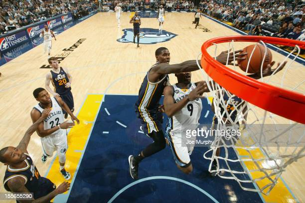 Marvin Williams of the Utah Jazz blocks a shot against Tony Allen of the Memphis Grizzlies on November 5 2012 at FedExForum in Memphis Tennessee NOTE...