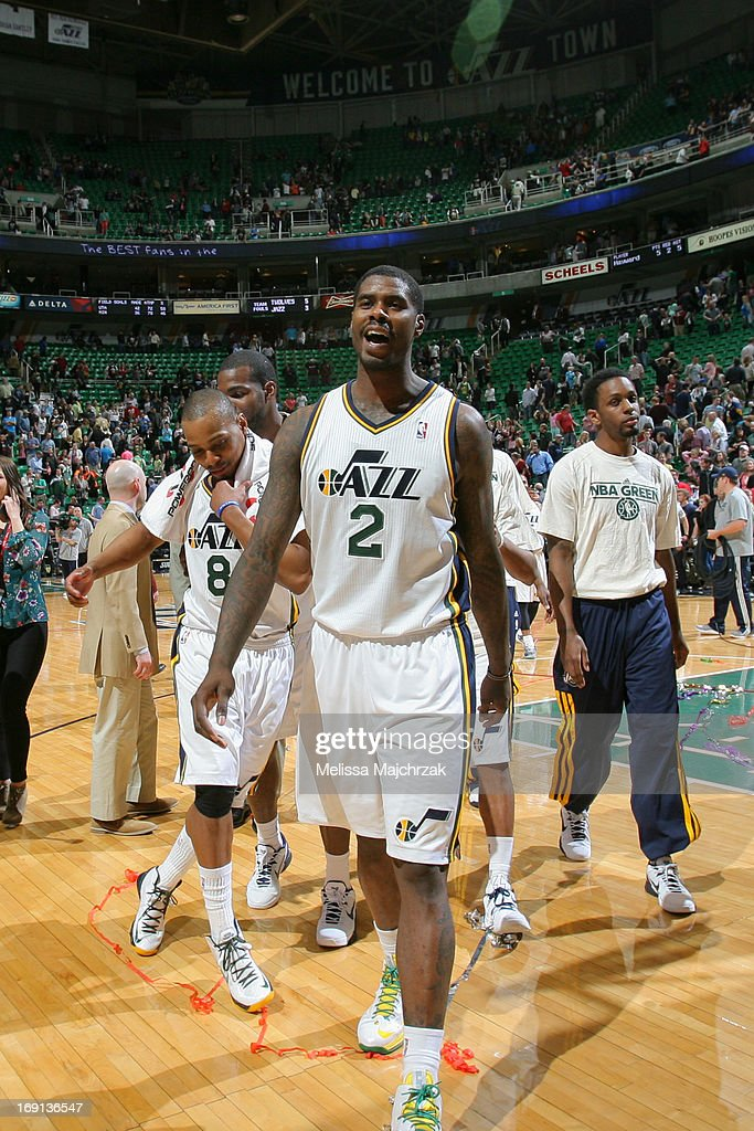 <a gi-track='captionPersonalityLinkClicked' href=/galleries/search?phrase=Marvin+Williams&family=editorial&specificpeople=206784 ng-click='$event.stopPropagation()'>Marvin Williams</a> #2 of the Utah Jazz celebrates after the game against the Minnesota Timberwolves at Energy Solutions Arena on April 12, 2013 in Salt Lake City, Utah.