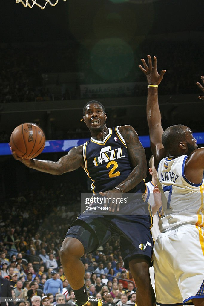 <a gi-track='captionPersonalityLinkClicked' href=/galleries/search?phrase=Marvin+Williams&family=editorial&specificpeople=206784 ng-click='$event.stopPropagation()'>Marvin Williams</a> #2 of the Utah Jazz drives to the basket against the Golden State Warriors on April 7, 2013 at Oracle Arena in Oakland, California.