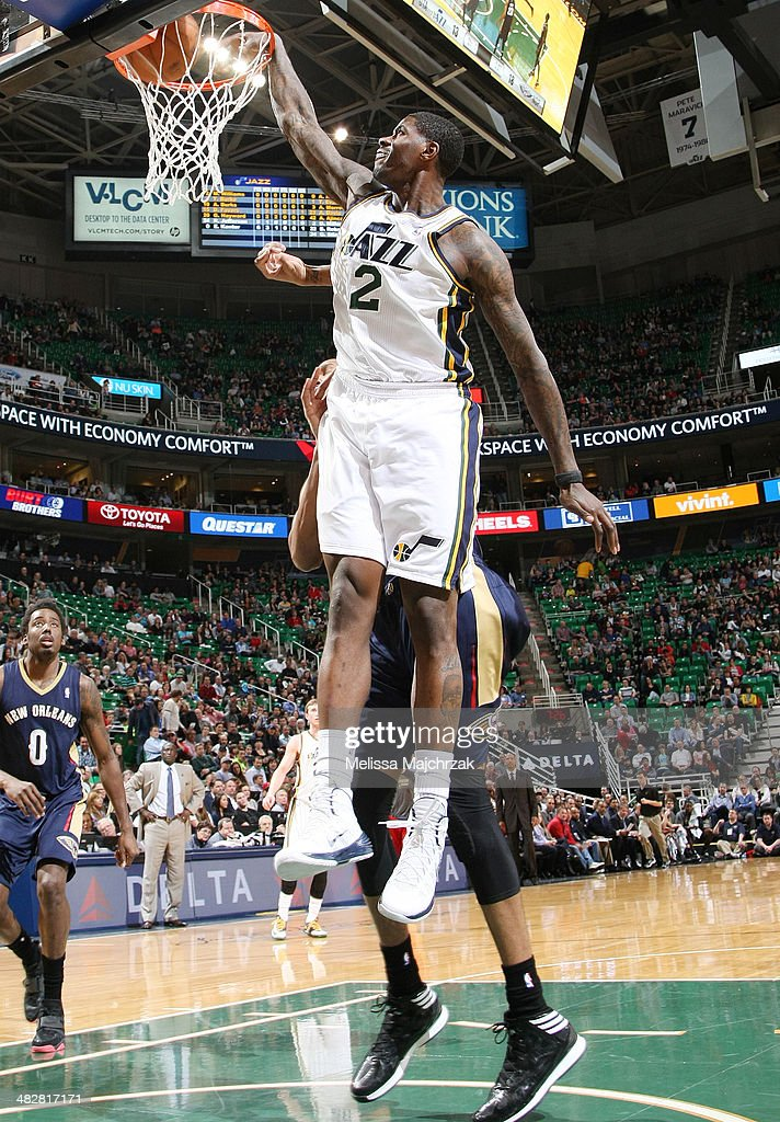 Marvin Williams #2 of the Utah Jazz dunks against the New Orleans Pelicans at EnergySolutions Arena on April 04, 2014 in Salt Lake City, Utah.