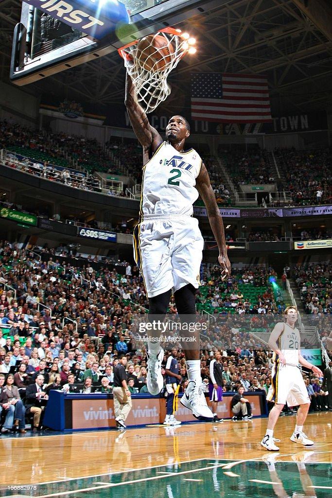 Marvin Williams #2 of the Utah Jazz dunks against the Sacramento Kings at Energy Solutions Arena on November 23, 2012 in Salt Lake City, Utah.