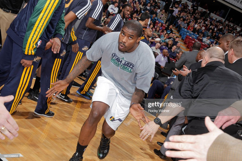 <a gi-track='captionPersonalityLinkClicked' href=/galleries/search?phrase=Marvin+Williams&family=editorial&specificpeople=206784 ng-click='$event.stopPropagation()'>Marvin Williams</a> #2 of the Utah Jazz gets introduced into the starting lineup against the Sacramento Kings on February 9, 2013 at Sleep Train Arena in Sacramento, California.