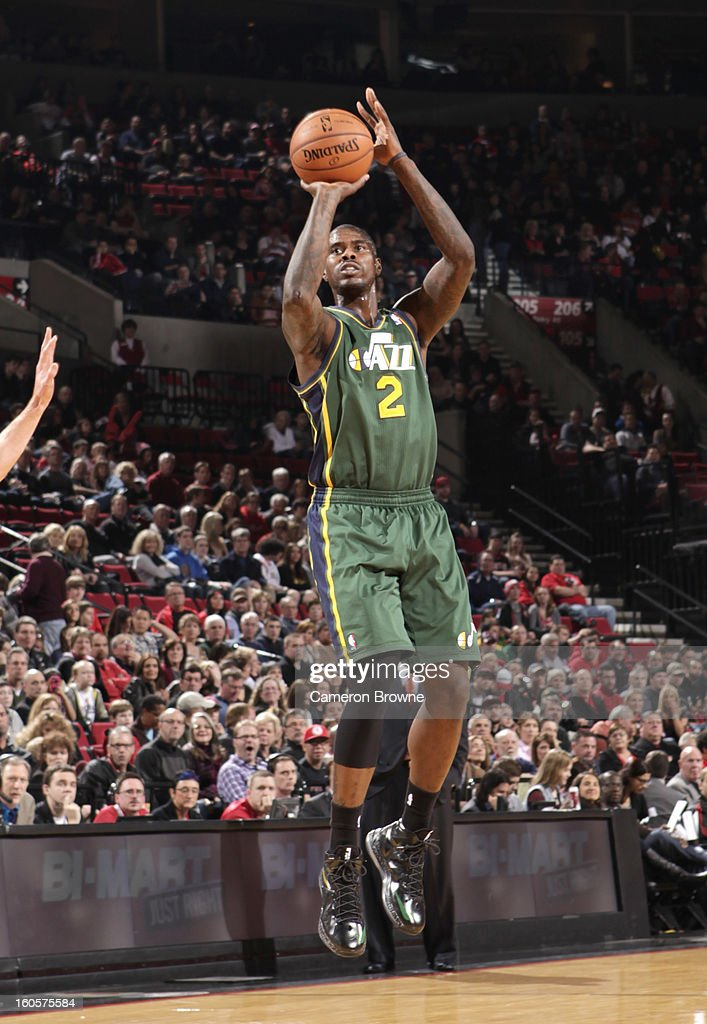 Marvin Williams #2 of the Utah Jazz goes for a jump shot during the game between the Utah Jazz and the Portland Trail Blazers on February 2, 2013 at the Rose Garden Arena in Portland, Oregon.