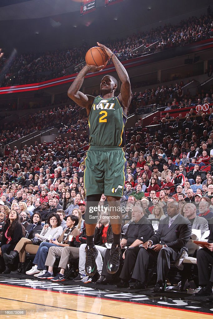 Marvin Williams #2 of the Utah Jazz goes to the basket during the game between the Utah Jazz and the Portland Trail Blazers on February 2, 2013 at the Rose Garden Arena in Portland, Oregon.