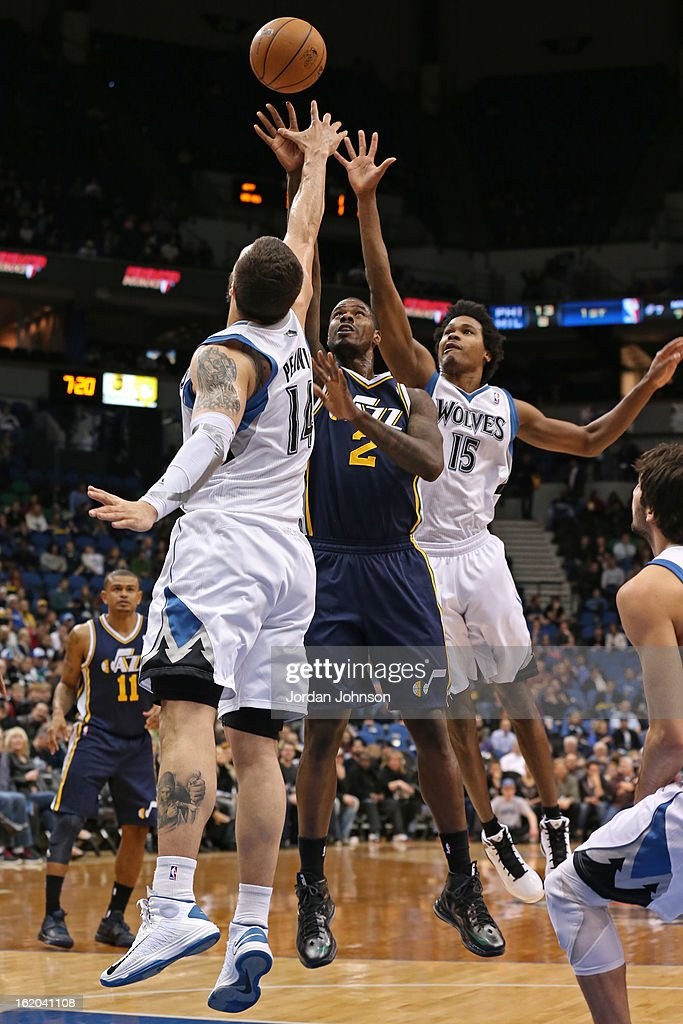 <a gi-track='captionPersonalityLinkClicked' href=/galleries/search?phrase=Marvin+Williams&family=editorial&specificpeople=206784 ng-click='$event.stopPropagation()'>Marvin Williams</a> #2 of the Utah Jazz puts up a shot against the Minnesota Timberwolves on February 13, 2013 at Target Center in Minneapolis, Minnesota.