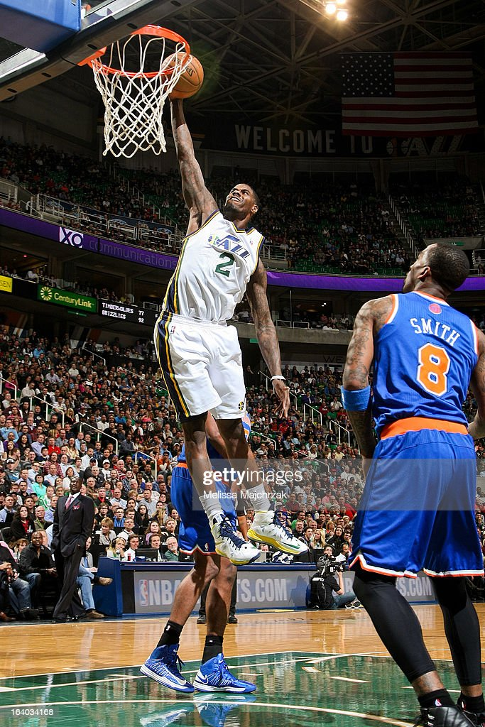 <a gi-track='captionPersonalityLinkClicked' href=/galleries/search?phrase=Marvin+Williams&family=editorial&specificpeople=206784 ng-click='$event.stopPropagation()'>Marvin Williams</a> #2 of the Utah Jazz rises for a dunk against the New York Knicks at Energy Solutions Arena on March 18, 2013 in Salt Lake City, Utah.