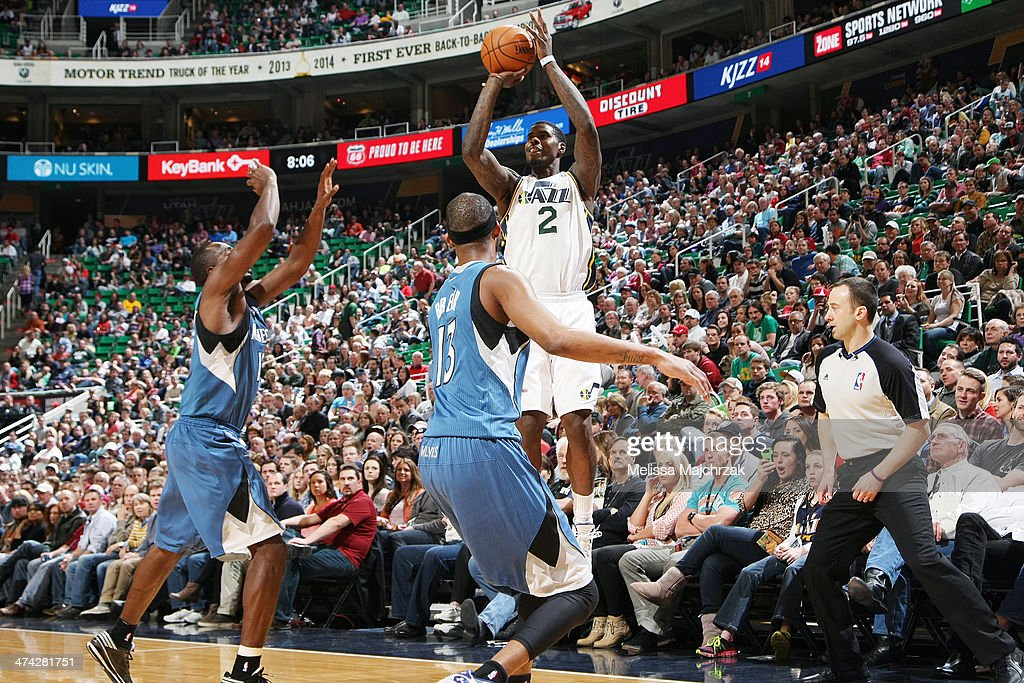 <a gi-track='captionPersonalityLinkClicked' href=/galleries/search?phrase=Marvin+Williams&family=editorial&specificpeople=206784 ng-click='$event.stopPropagation()'>Marvin Williams</a> #2 of the Utah Jazz shoots against the Minnesota Timberwolves at EnergySolutions Arena on February 22, 2014 in Salt Lake City, Utah.