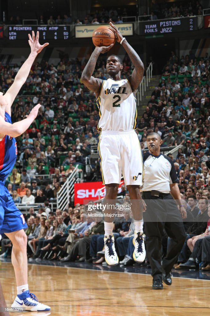 <a gi-track='captionPersonalityLinkClicked' href=/galleries/search?phrase=Marvin+Williams&family=editorial&specificpeople=206784 ng-click='$event.stopPropagation()'>Marvin Williams</a> #2 of the Utah Jazz shoots the ball against the Detroit Pistons on March 11, 2013 in Salt Lake City, Utah.