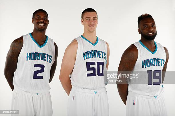 Marvin Williams Tyler Hansbrough and PJ Hairston of the Charlotte Hornets pose for media day at the Time Warner Cable Arena on February 4 2015 in...