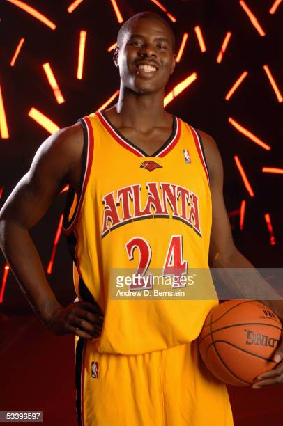 Marvin Williams#24 of the Atlanta Hawks poses during a portrait session with the 2005 NBA rookie class on August 10 2005 in Tarrytown New York NOTE...