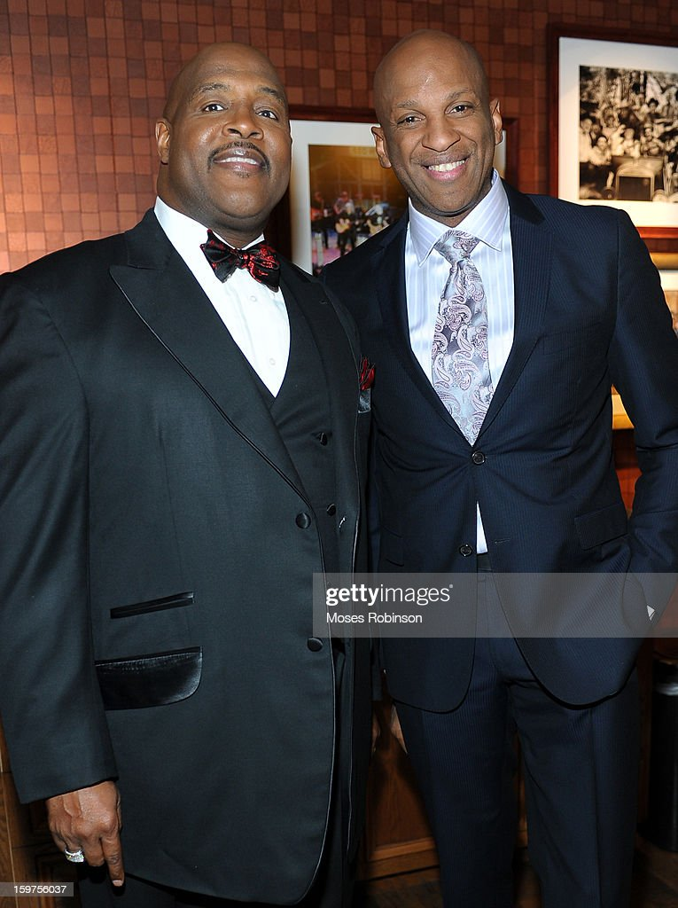 Marvin Winans and Donnie McClurkin attend the 28th Annual Stellar Awards Backstage at Grand Ole Opry House on January 19, 2013 in Nashville, Tennessee.