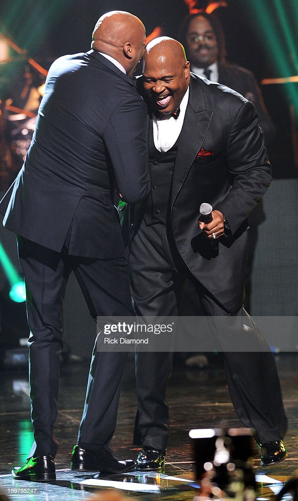 Marvin Winans and Donnie McClurkin perform on the 28th Annual Stellar Awards Show at Grand Ole Opry House on January 19, 2013 in Nashville, Tennessee.