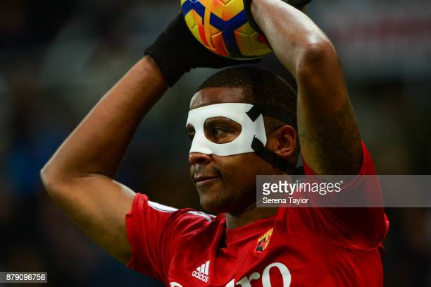 Marvin Zeegelaar of Watford looks to throw the ball into play during the Premier League match between Newcastle United and Watford FC at StJames'...