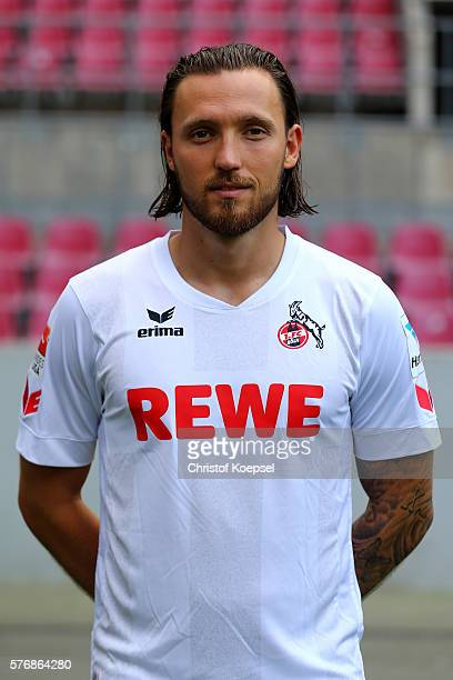 Marvo Hoeger poses during the team presentation of 1 FC Koeln at RheinEnergieStadion on July 18 2016 in Cologne Germany