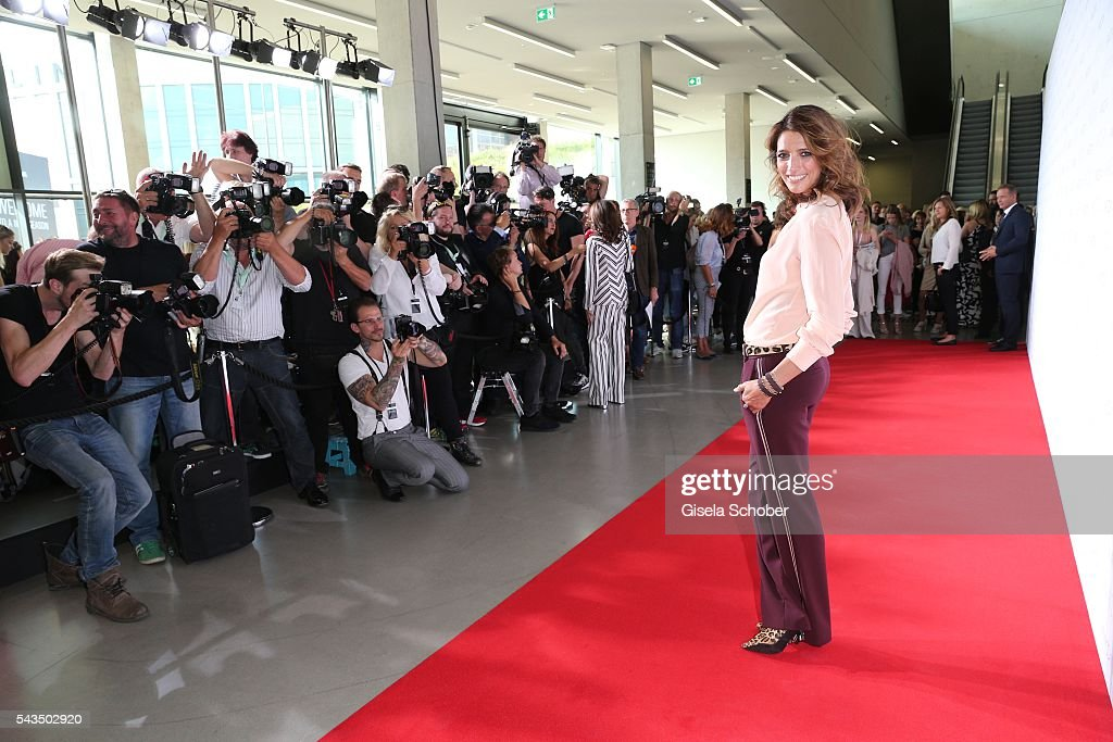 Marvy Rieder wearing a suit by Marc Cain during the Marc Cain fashion show spring/summer 2017 at CITY CUBE Panorama Bar on June 28, 2016 in Berlin, Germany.