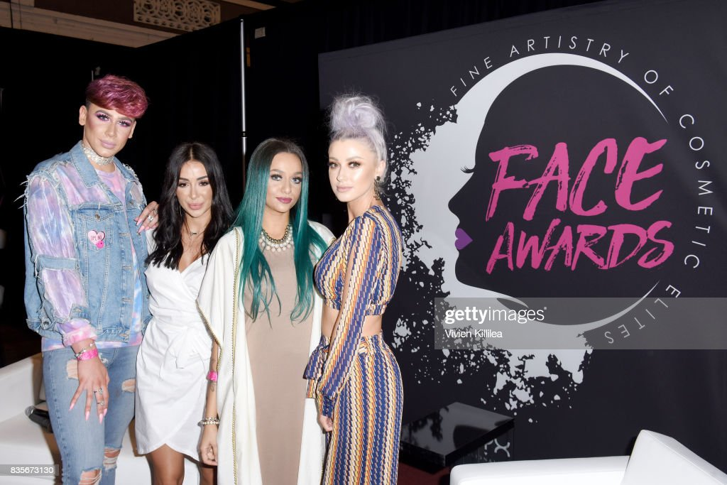 Marvyn Macnificent, Maya Ahmad, Rawda Salama and Katie Mulcahy at the 2017 NYX Professional Makeup FACE Awards Expo at The Shrine Auditorium on August 19, 2017 in Los Angeles, California.