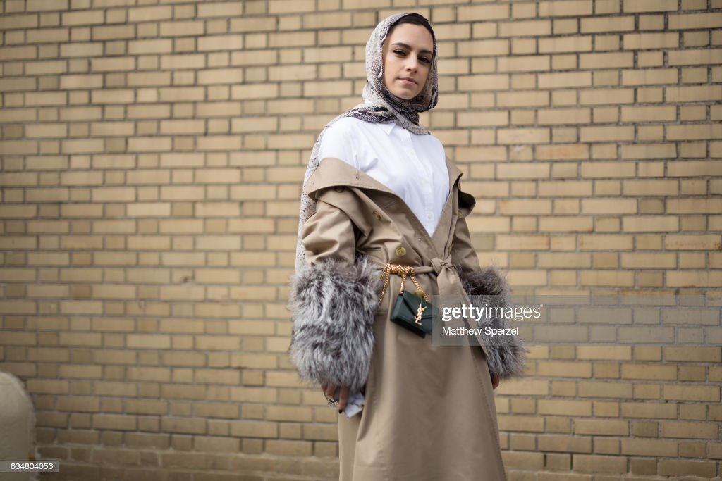 Marwa Biltagi is seen attending Taoray Wang/Creatures of the Wind during New York Fashion Week wearing Gucci, Burberry, Ralph Lauren, and YSL on February 11, 2017 in New York City.