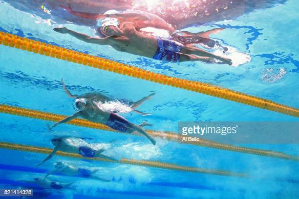 Marwan Elkamash of Egypt competes during the Men's 200m Freestyle Heats on day eleven of the Budapest 2017 FINA World Championships on July 24 2017...