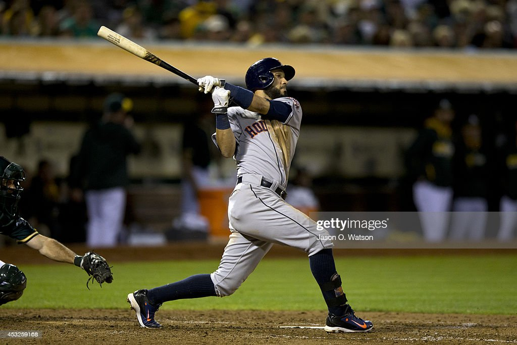 Marwin Gonzalez of the Houston Astros at bat against the Oakland Athletics during the fifth inning at Oco Coliseum on July 23 2014 in Oakland...