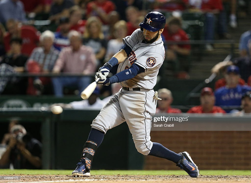 Marwin Gonzalez of the Houston Astros bats during a game against the Texas Rangers at Globe Life Park in Arlington on September 23 2014 in Arlington...