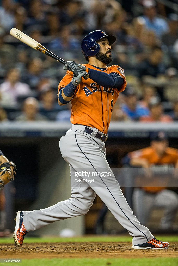 Marwin Gonzalez of the Houston Astros bats during the game against the New York Yankees at Yankee Stadium on August 25 2015 in the Bronx borough of...
